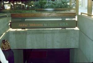 Entry to International Arrivals Building, Honolulu International Airport, 1990s.