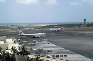 Central Concourse, Honolulu International Airport at left, showing Federal Aviation Administration Tower at right, 1991.