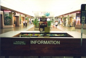 Visitor Information Program desk, Central Concourse, Honolulu International Airport, 1994.