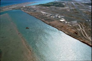 South Ramp, Honolulu International Airport, showing Keehi Lagoon sealanes, 1991.