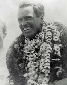 Pilot Art Goebel is all smiles and lei after winning the Dole Derby on August 17, 1927 in the Woolaroc.