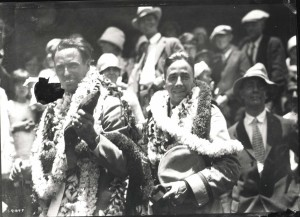 Dole Derby winners Art Goebel and William Davies after they landed at Wheeler Field, August 17, 1927.