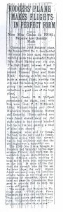 Rodgers' Plane Makes Flight in Perfect Form, 9-20-1925