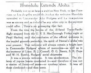 Honolulu Extends Aloha, 9-13-1925