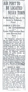 Air Port to be Located Near Honolulu, 9-14-1925