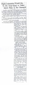 Flight Commander Would Like to Fly From Kauai to Oahu, 9-14-1925