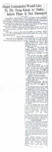 Flight Commander Would Like to Fly From Kauai to Oahu, 9-14-1925