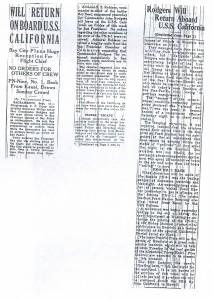 Rodgers Will Return on Board USS California, 9-14-1925