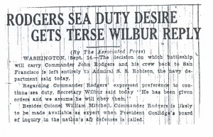 Rodgers Sea Duty Reply Gets Terse Wilbur Reply, 9-15-1925