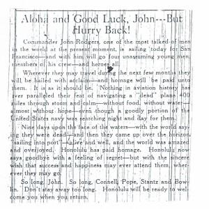 Aloha and Good Luck John, But Hurry Back, 9-17-1925