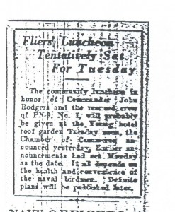 Flier's Luncheon Tentatively Set for Tuesday, 9-11-1925
