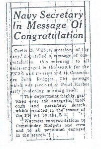 Navy Secretary in Message of Congratulation, 9-11-1925
