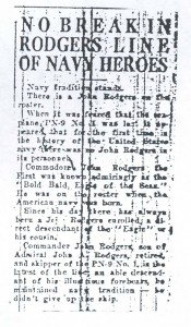 No Break in Rodgers Line of Navy Heroes, 9-11-1925