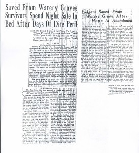 Saved From Watery Graves Survivors Spend Night Safe, 9-11-1925