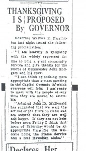 Thanksgiving is Proposed by Governor, 9-11-1925