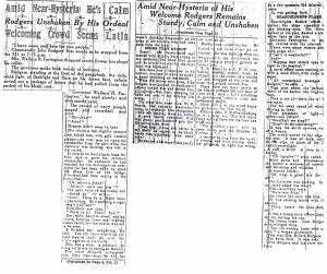 Amid Near Hysteria, He's Calm, 9-11-1925