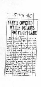 Navy's Covered Wagon Departs for Flight Lane, 8-25-1925