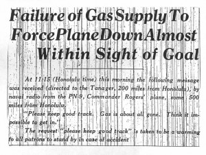 Failure of Gas Supply to force Plane Down almost within sight of goal, 9-1-1925
