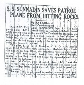 SS Sunnadin Saves Patrol Plane From Hitting Rocks, 9-3-1925