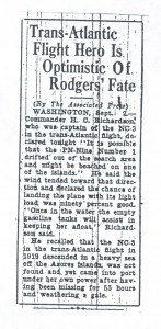 Trans-Atlantic Flight Hero Is Optimistic of Rodgers' Fate, 9-3-1925