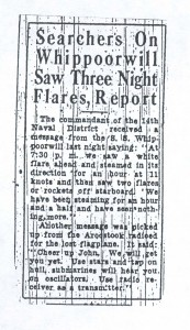 Searchers on Whippoowill See 3 Night Flares Report, 9-4-1925