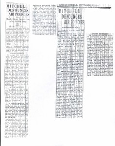 Mitchell Denounces Air Policies, 9-6-1925