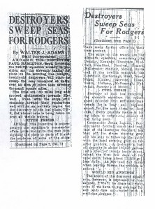 Destroyers Sweep Sea For Rodgers, 9-8-1925