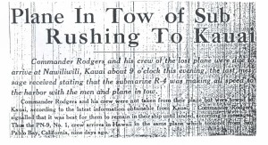 Plane in Tow of Sub Rushing to Kauai, 9-10-1925
