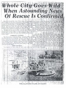 Whole City Goes Wild When Astounding News of Rescue Is Confirmed, 9-10-1925