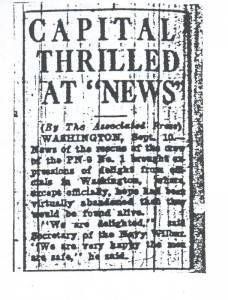 Capital Thrilled at News, 9-11-1925