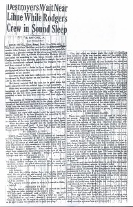Destroyers Wait Near Kauai While Rodgers Crew in Sound Sleep, 9-11-1925