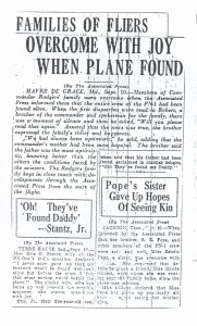Families of Fliers Overcome With Joy When Plane Found, 9-11-1925