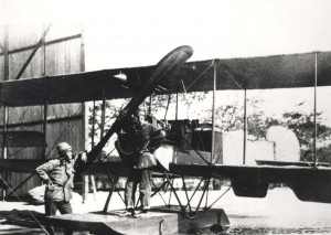 Signal Corps aircraft No. 21 arrived on Oahu July 11, 1913. Individual on float is believed to be Army Lt. Harold E. Geiger.