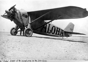 Martin Jensen, pilot, and Paul Schluter, navigator, took off in the Aloha on August 16, 1927. They arrived at Wheeler Field on Oahu on August 17, 1927, one hour and 58 minutes after the winning Woolaroc.