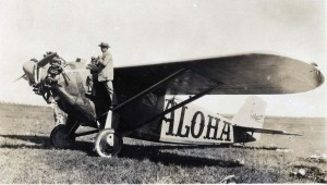 Dole Derby runnerup Martin Jensen's Aloha at Wheeler Field, August 17, 1927.