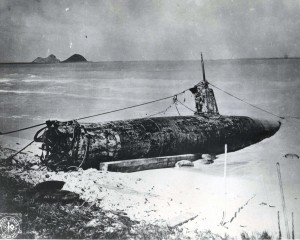 Japanese midget submarine went aground at Bellows Field on December 7, 1941. It was salvaged by a Navy crew.
