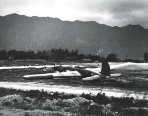 One of 12 B-1s from U.S. Mainland to Hawaii unable to land at Hickam Field due to Japanese attack, made a belly landing on the short fighter airstrip at Bellows Field, on December 7, 1941.