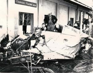 Japanese zero crashed at Fort Kamehameha, Oahu, after being shot down on December 7, 1941