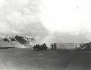 Flight line at Hickam Field, December 7, 1941 during bombing.