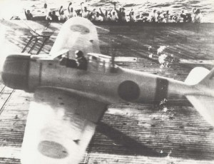 Japanese aircraft launch from carrier, December 7, 1941.
