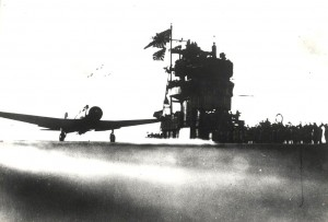 Japanese aircraft launches from carrier on December 7, 1941.