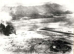 Japanese photograph of runway at Kaneohe Naval Air Station under attack on December 7, 1941.