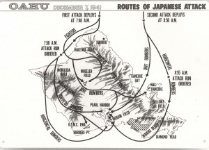 Routes of Japanese attack on Pearl Harbor, December 7, 1941.