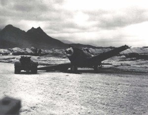 Damaged P-40 at Bellows Field, December 7, 1941.