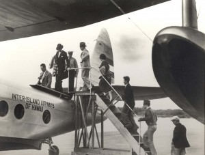 Historic photo of passengers boarding the aircraft