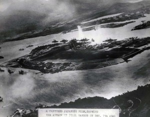 Aerial view of the 1st bomb drop on Pearl Harbor