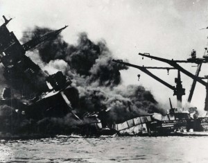 Historic photo of Pearl Harbor attack in 1941
