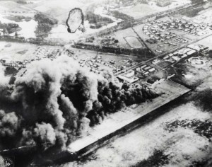 Aerial view of the attack on Wheeler Field in 1941