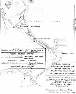 1947 blueprint of Bellows Airport