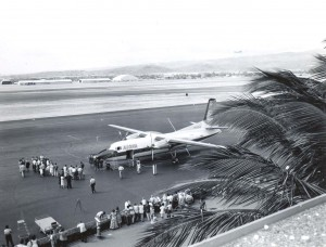 1961 photo of Aloha Airlines' 1st arrival on Oahu